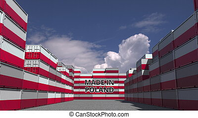 Many containers with MADE IN POLAND text and national flags. Polish import or export related 3D rendering