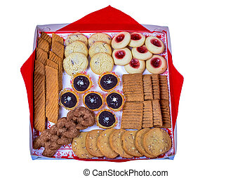 many cookies of different varieties on a white background