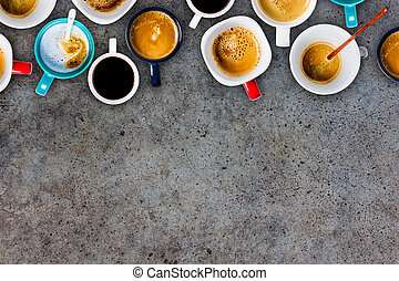 Many cups of coffee on dark background