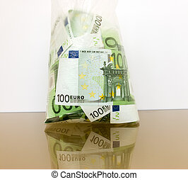 Many currency euro in a package