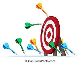 Many darts missed target mark.
