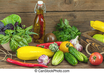 Many delicious juicy colorful summer vegetables and herbs -...