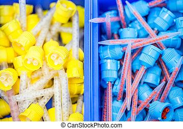 Many dental silicone rubber conveyor head in storage box