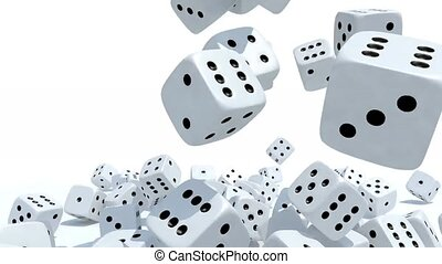 many dices fall on white background