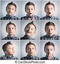 boy expressions - many different boy expressions