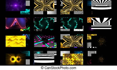 Many different bright abstract wallpapers in black space, 3d...