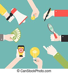 Many different business hands with different objects, such as lightbulb, magnify glass,, megaphone, business strategy for reaching goal
