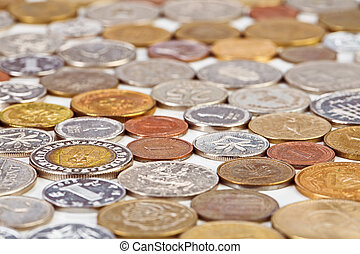 Many different coins collection, monetary concept background