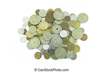 Many different coins collection on white background