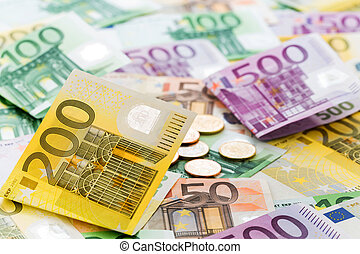 many different euro bills. symbolic photo for wealth and...
