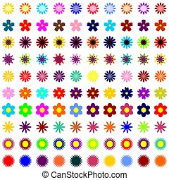 many different flowers on white background	art decor design