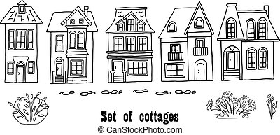 Many different houses, detached, single-family houses with gardens. Hand drawn vector illustration on a transparent background. Design for printing postcards, fabrics