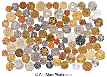 Many different old coins collection on white background