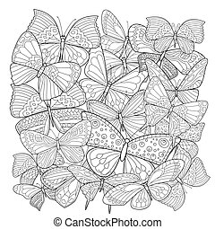Many different patterns of butterflies for your coloring book
