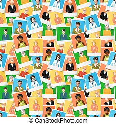 Many different polaroid instant photos with flat portraits of people on colourful backgrounds, seamless pattern