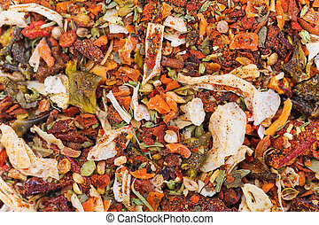 Many different spice background blend. Food texture