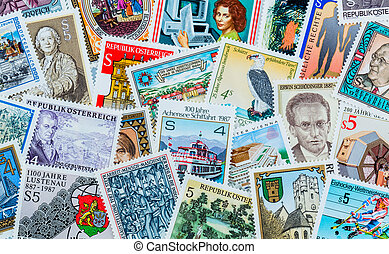 many different stamps are adjacent. collecting as a hobby.