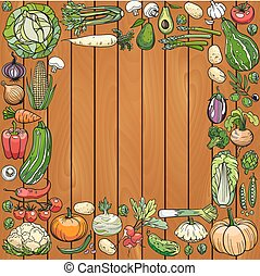 hand draw vegetables on a wooden deck