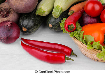 Many different vegetables include beets, cabbage, zucchini, carrots, tomatoes, peppers, onions, garlic, and cucumbers and lettuce on a white and wooden background.