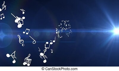 Many different white musical notes fly . Blue background