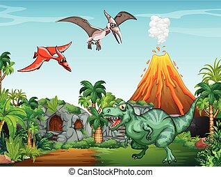 Many dinosaurs in the field