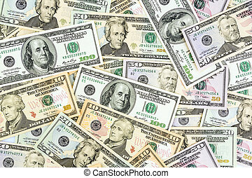 many dollar bills - many american dollar bills. symbolic...