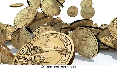 many dollar coins on white background, 3d animation