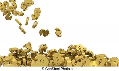 many dollar signs fall on white background, 3d animation