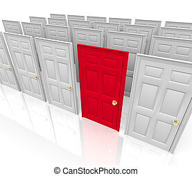 Many doors stand before you... do you choose the red one?