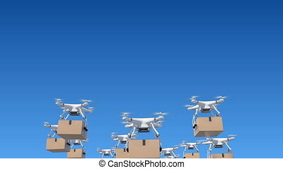 Many Drones Flying in the Blue Sky and Delivering Packages....