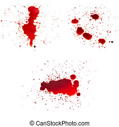 many drop of blood isolated on white background