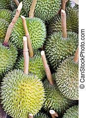 Many durians ,fruit background.