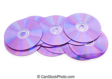 Many DVD\'s isolated on the white background