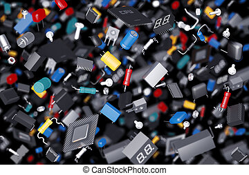 many electronic components