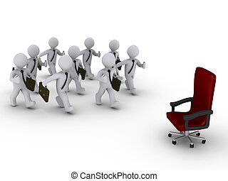 Many employees for one position - Several 3d businessmen run...