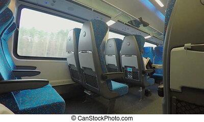 """Many empty seats on comfortable intercity express train..."