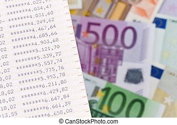 Euro bank notes with bleu - Many Euro bank notes with bleu