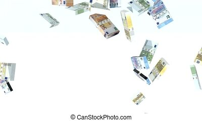 many euro banknotes launched into the air, 3d animation