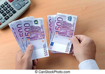 Many Euro Banknotes - Many Euro banknotes of the European...