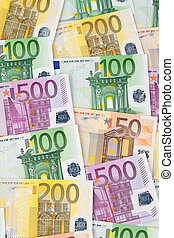 Many Euro banknotes of the European Union next to each other