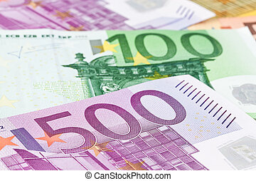 many euro banknotes of the european union. close up