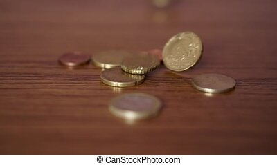 Many Euro Coin on Table - Shot for Many Euro Coin on Tble....