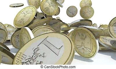 many euro coins fall on white background, 3d animation