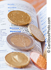 Many euro coins on dictionary