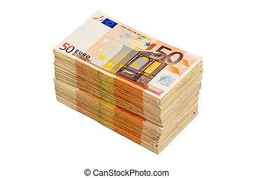 many euro notes - stack of many fifty euro bills. symbolic...