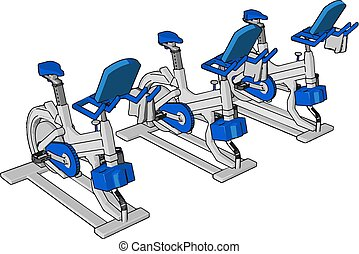 Many exercise in gym vector or color illustration - Many...
