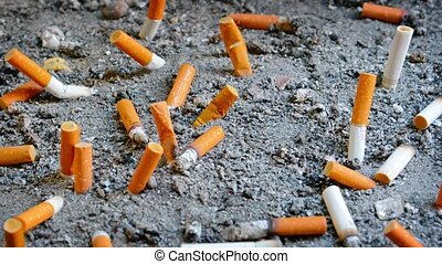 Video UltraHD - Dozens of extinguished cigarette butts of varying brands, discarded in a designated receptacle, many protruding from the sand.