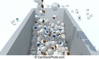 many eyeballs fall on a container.