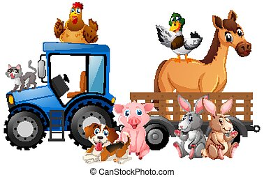 Many farm animals riding tractor on white background