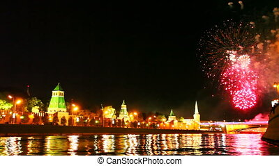 many fireworks in honor of day city Moscow on river - many...